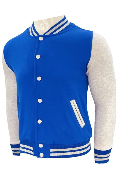 Z544   設計啪鈕棒球褸   訂做拼色棒球褸   棒球褸工廠    棒球褸工廠   牛肚衛衣布