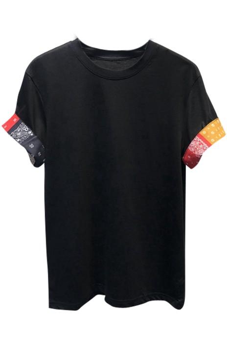 SKT005 訂製男士夏季T恤  翻袖撞接 百搭純棉T恤  T恤生產商