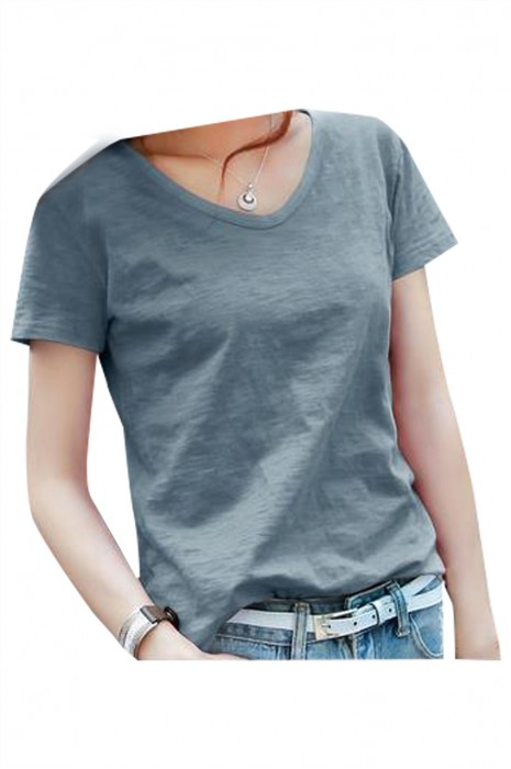 SKT037 設計純棉寬鬆短袖T恤  製造V領淨色短袖T恤 短袖T恤供應商 竹節棉T恤