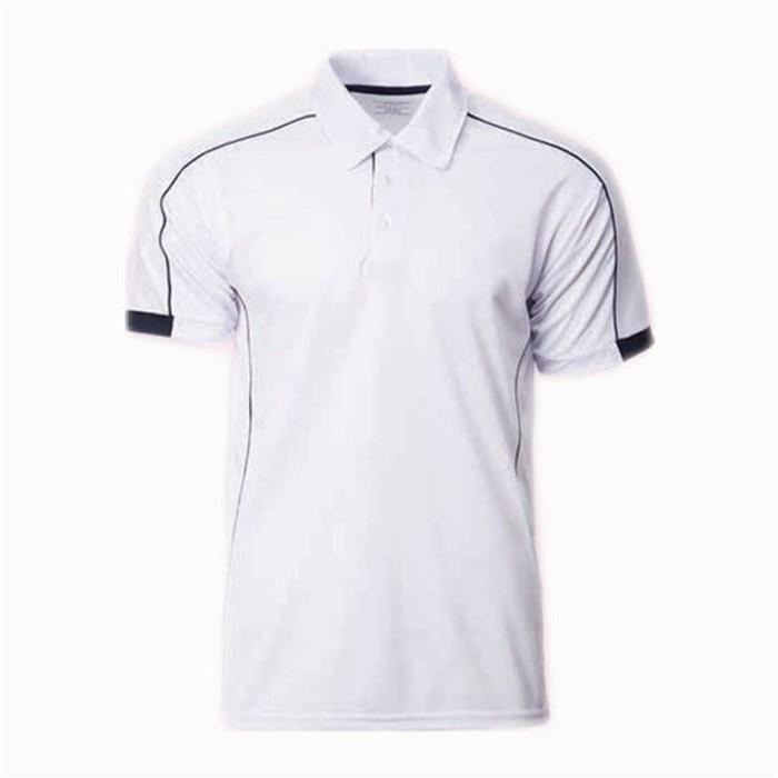 SKP006   MY-PrintLF 訂購男女POLO衫  製造運動Polo衫    Polo恤製衣廠    撞色橫條白色    馬來西亞出貨   CRP1500
