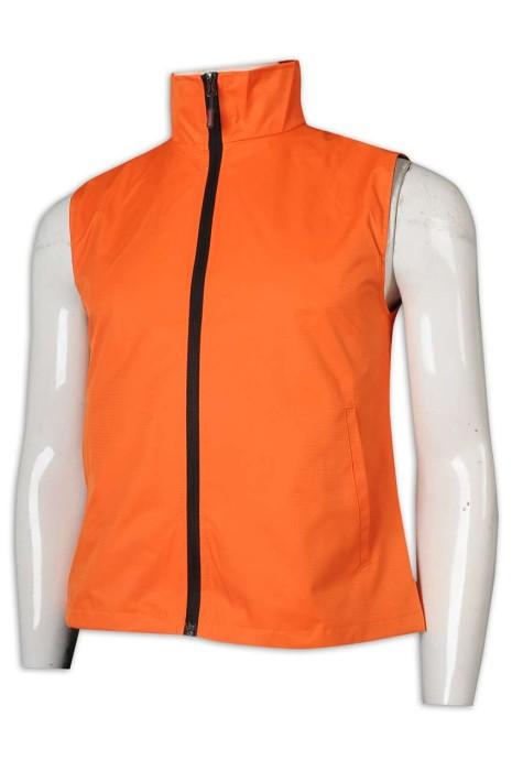 SKV010 B08 網上下單背心外套 淨色 高領 拉鏈 保暖背心外套 工作服 馬甲 背心外套製造商