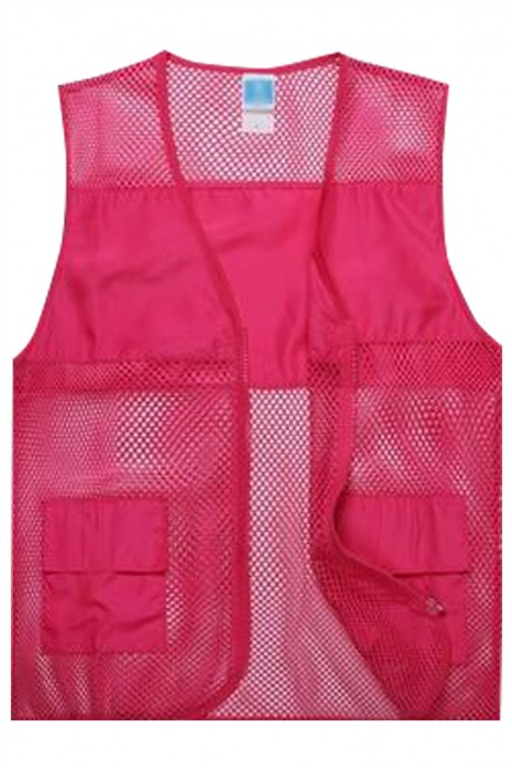 SKV025  製造網眼布背心外套  供應V型領拉鏈大口袋背心外套  背心外套供應商