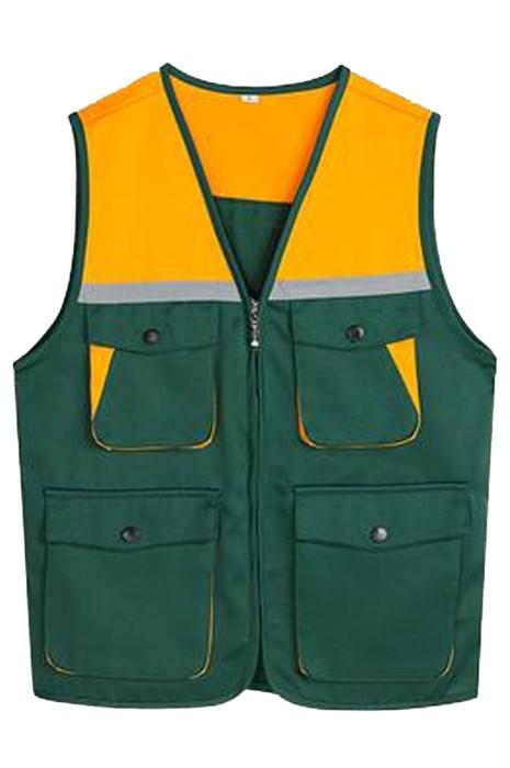 SKV031 網上下單訂購撞色工作服   設計立體多口袋反光團體馬甲外套  工作服生產商  釣魚 多功能 戰術