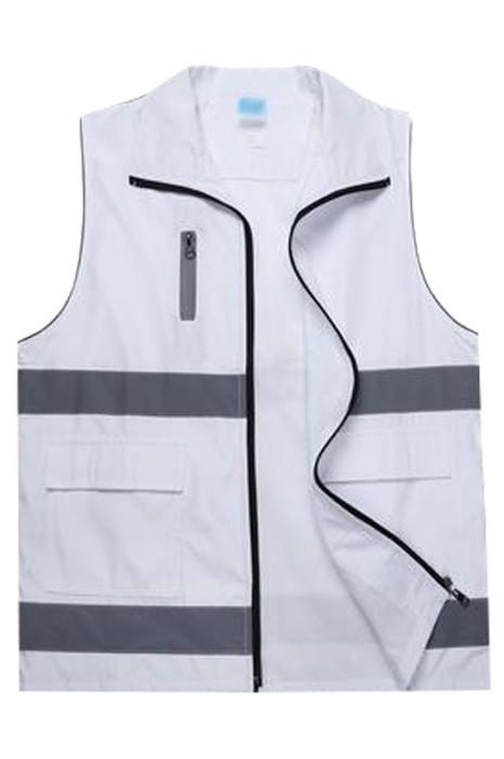 SKV032 大量訂製拉鏈反光背心外套   設計拉鏈口袋工作服 義工活動   反光背心外套供應商