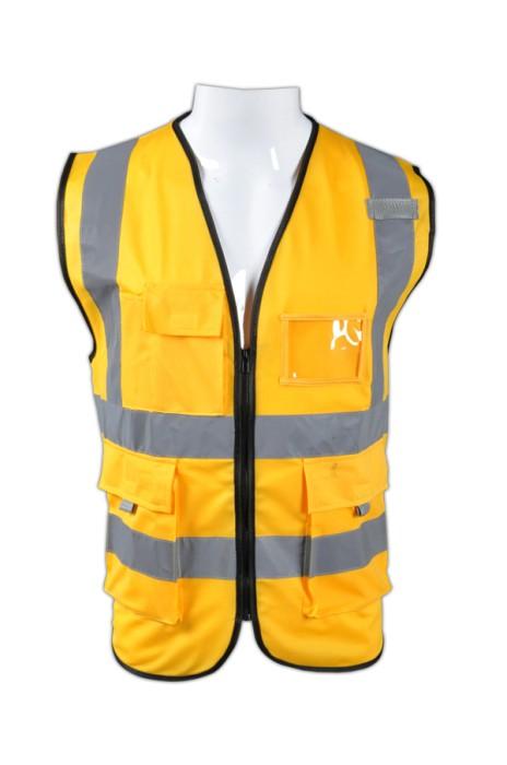 TB 金黃色EN471梳織高亮反光背心 LK#088 在線訂購道路施工反光背心 工業製服生產商 梭織反光背心價格