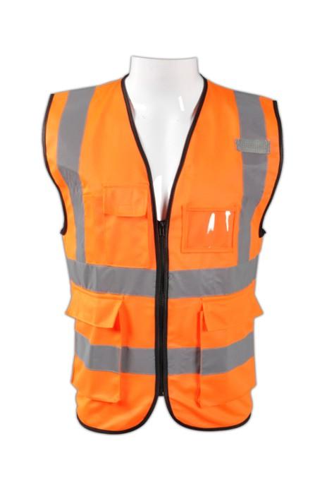 TB 橘紅色EN471梳織高亮反光背心 LK#088來樣訂造環衛工作製服 反光背心服 反光製服批發商 梭織反光背心價格