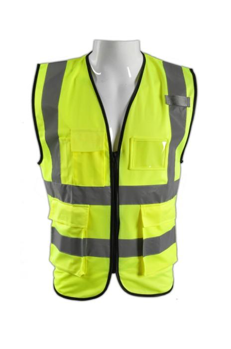 TB 螢光黃色EN471短袖男裝反光背心 LK#088 團體反光安全服 反光背心款式製服 反光製服香港公司 梭織反光背心價格