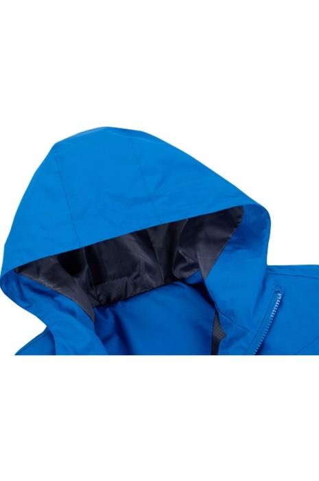 SKJ031 訂製淨色登山衝鋒衣 設計連帽風褸  拉鏈 風褸供應商
