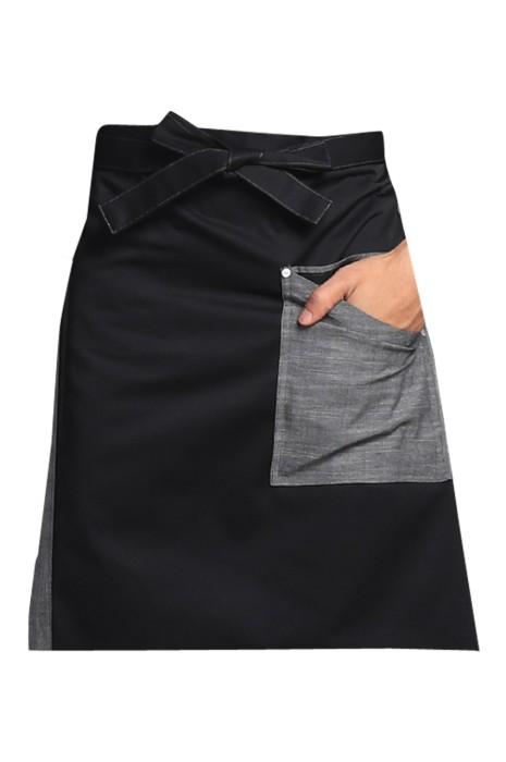 SKAP052  設計時尚牛仔圍裙  網上下單餐廳半身圍裙 圍裙hk中心 前面綁帶款