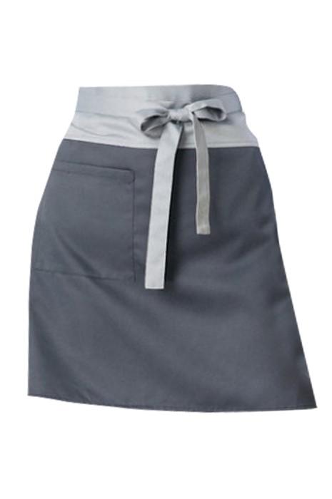 SKAP053 訂購西餐廳圍裙 酒店服務員工作圍裙 灰色短圍裙 半身口袋簡約個性圍裙 前面綁帶款