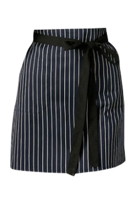 SKAP054  製造酒店服務員圍裙 工作條紋圍裙 短款酒吧圍裙 廚房圍裙 前面綁帶款