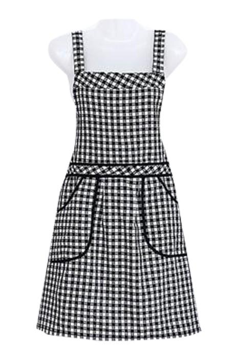 SKAP066 製造格子背帶圍裙 時尚設計背帶圍裙 拼布圍裙 咖啡店 圍裙  圍裙中心