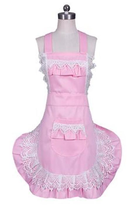 SKAP081 製造女僕圍裙  時尚設計喱仕花邊圍裙 喱仕口袋 喱仕花邊下擺 女僕圍裙中心