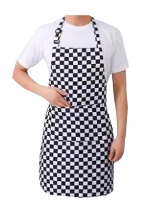 SKAP083  個人設計黑白格子圍裙  訂製掛脖西餐咖啡廳黑白格子圍裙  黑白格子圍裙生產商