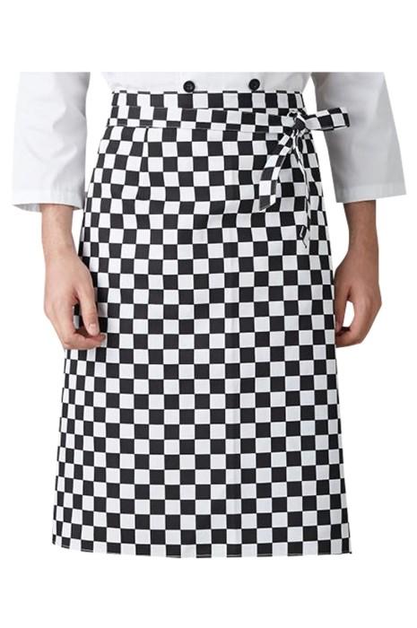 SKAP084 製造黑白格子圍裙  設計長款圍裙 咖啡廳 服務員 主廚黑白格子圍裙