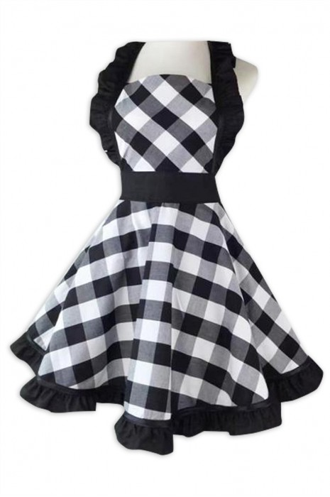 SKAP085  大量訂製復古黑白大格子圍裙  設計收腰咖啡店 烘焙 花店 美容院黑白格子圍裙 圍裙供應商