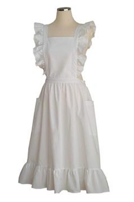 SKAP097  製造女僕過膝長款花邊法式圍裙  訂製花藝師法式花瓣袖圍裙  法式圍裙生產商