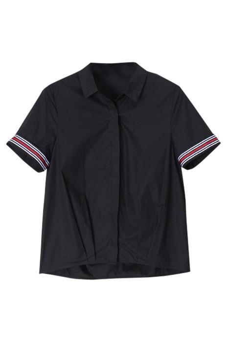 SKR021 設計夏季短袖襯衫 翻袖撞接 純棉襯衫 襯衫製造商