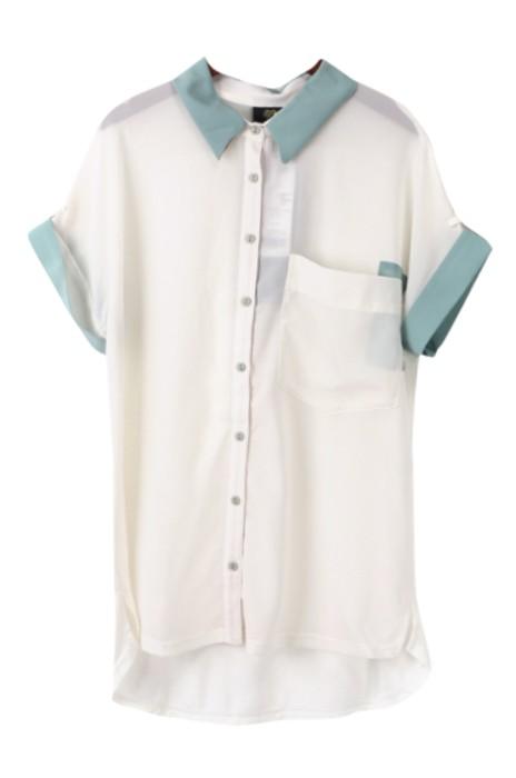 SKR022 製作夏季女裝短袖襯衫 翻袖撞接 雪紡襯衫 襯衫專門店