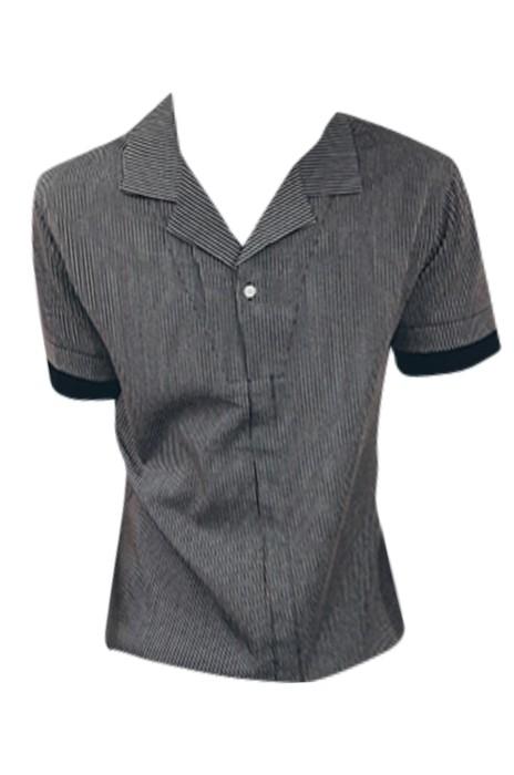 SKR025 設計夏季短袖襯衫男 條紋拼接寬松襯衣 假兩件 恤衫製造商