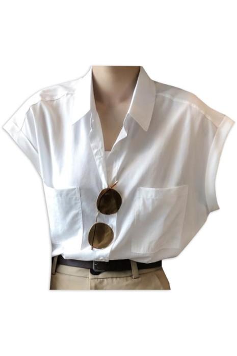 SKR030  大量訂製淨色短袖恤衫  時尚設計寬鬆翻領無袖恤衫  恤衫專門店