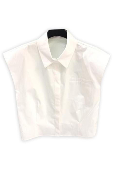 SKR031 製造淨色墊肩無袖恤衫  設計翻領女裝恤衫  恤衫中心