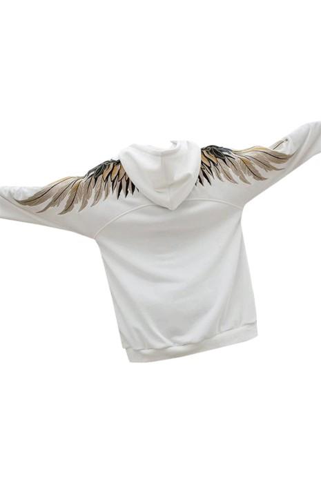 SKZ010 製造刺繡翅膀寬鬆連帽衛衣 設計黑白撞色連帽衛衣 連帽衛衣中心