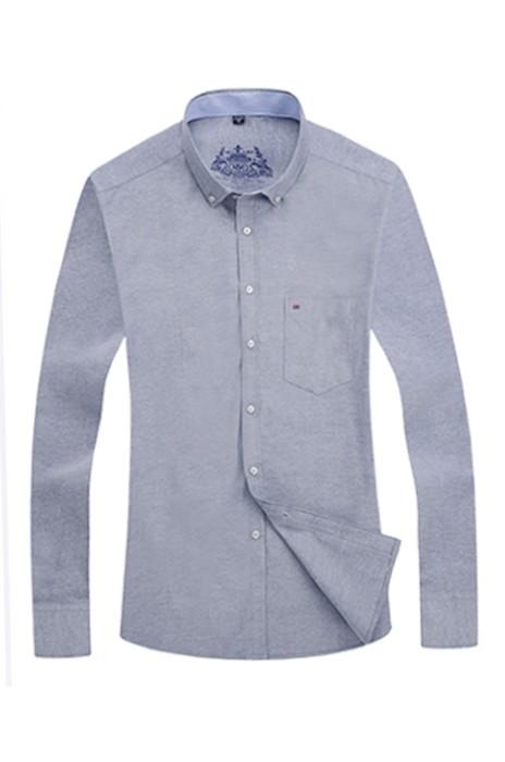 SKR013  自製牛津紡恤衫款式    製作休閒純色恤衫款式    設計男裝長袖恤衫款式   長袖恤衫製衣廠