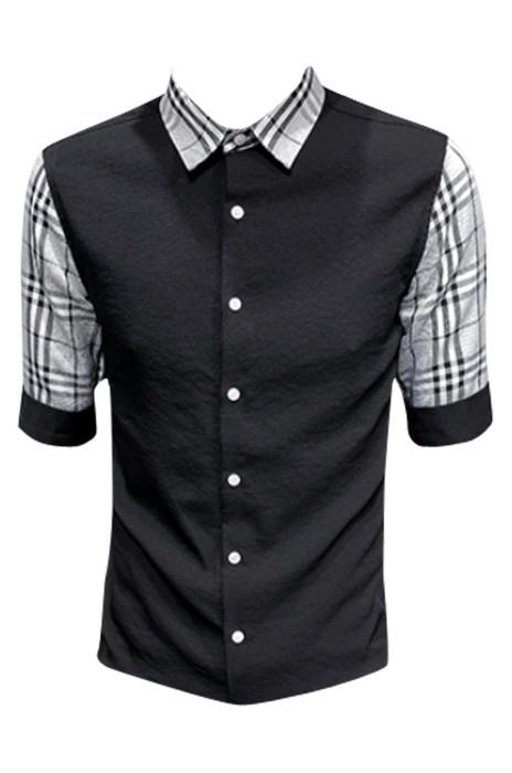 SKR017 設計男士夏季修身襯衫 仿中袖 假中袖 假兩件  襯衫製造商