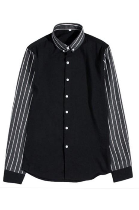 SKR018 製作男士休閒襯衫 條紋拼接 假長袖 仿中袖 假兩件  襯衫專門店