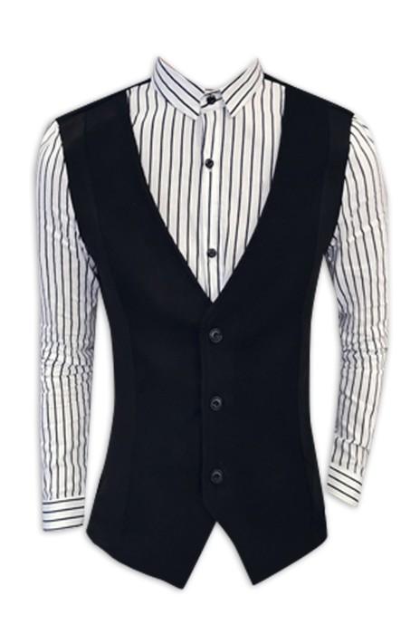 SKR023 訂製修身條紋拼接長袖襯衫 男士假兩件 恤衫生產商