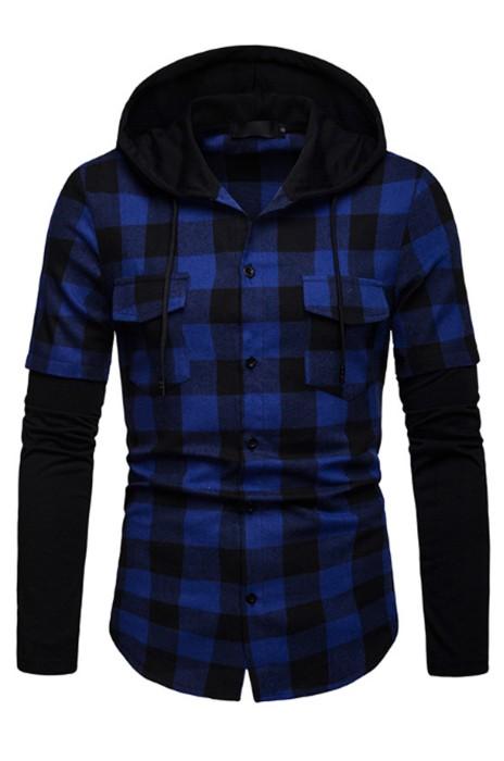 SKR024 訂做連帽長袖格子襯衫 男士假兩件 恤衫供應商