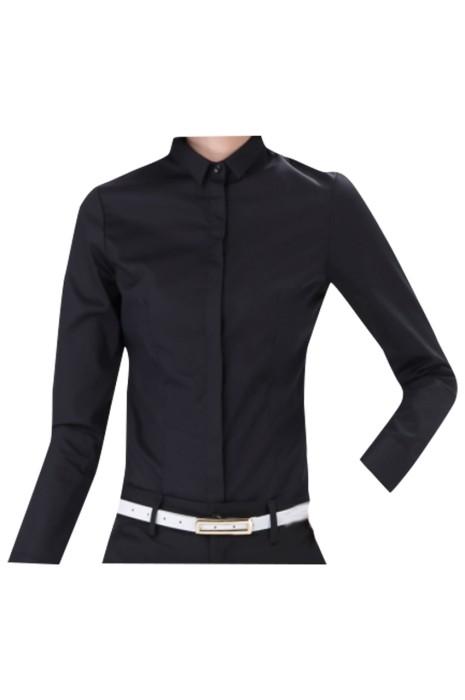 SKR025 訂製黑色長袖恤衫 設計工裝 職業長袖恤衫 恤衫中心
