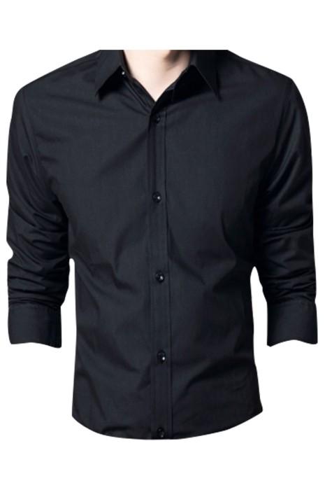 SKR026 製造長袖反領恤衫 設計黑色反領恤衫 職業商務 恤衫中心