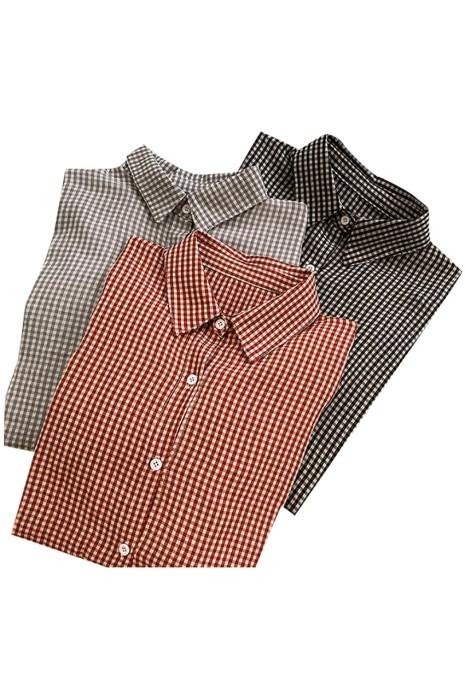 SKR028  大量訂製燈籠袖格子恤衫   設計翻領寬鬆恤衫 恤衫中心