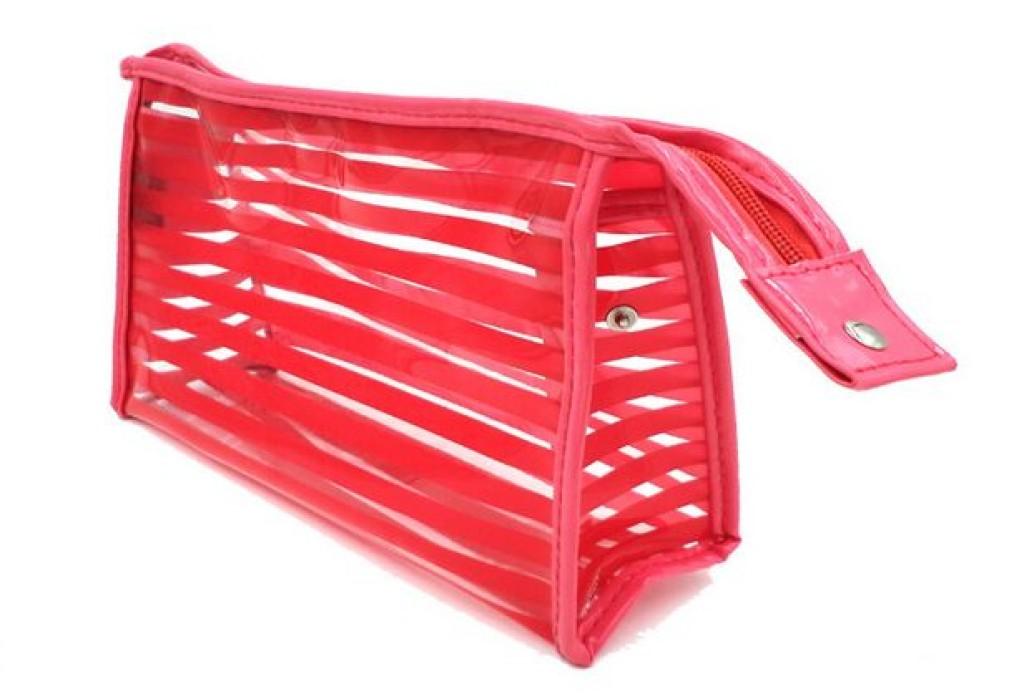 PVCB001 訂購透明加厚PVC袋  網上下單化妝袋 供應條紋化妝袋 洗漱包 女士化妝收納袋製衣廠