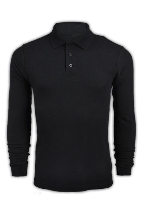純色 黑色007長袖男裝Polo恤 1AD01 供應訂購純色長袖polo恤 純棉透氣polo恤 polo恤香港製造 Polo恤價格