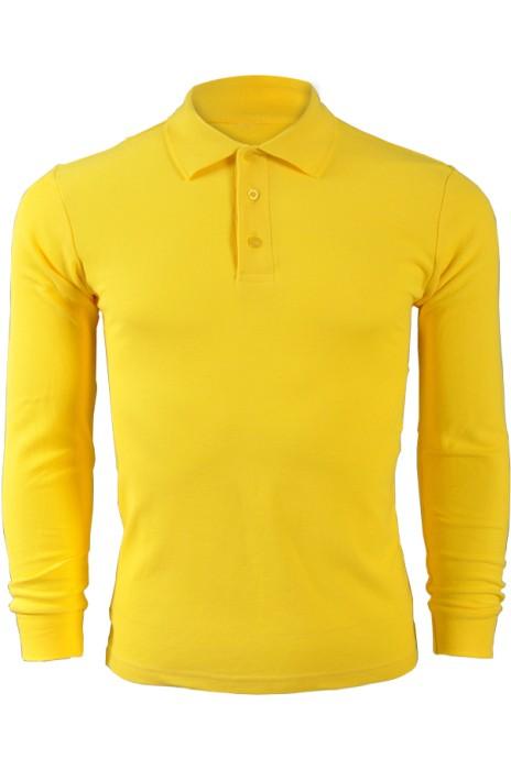 純色 香蕉黃色049長袖男裝Polo恤 1AD01 供應訂購純色長袖polo恤 純棉透氣polo恤 polo恤香港製造  Polo恤價格