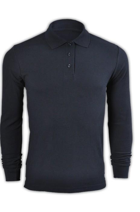 純色 寶藍色099長袖男裝Polo恤 1AD01 設計訂製團體DIY純色polo恤 休閒運動polo恤 polo恤專門店  Polo恤價格