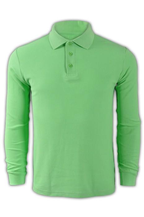 純色 明綠色060長袖男裝Polo恤 1AD01 度身訂製男裝純色polo恤 DIY polo恤 polo恤生產商  Polo恤價格