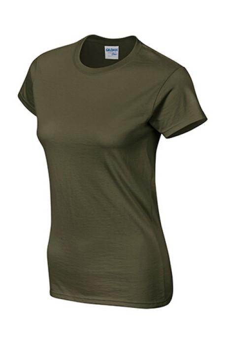 Gildan 軍綠色 106 短袖女圓領T恤 76000L 圓領tee批發 訂製圓領T恤 香港訂T恤 T恤價格