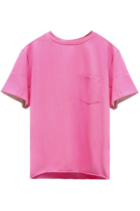 SKT006 訂做女裝翻袖撞接T恤 圓領純色短袖T恤 T恤供應商