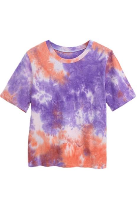 SKT007 設計女裝撞色扎染T恤  寬鬆圓領短袖T恤 T恤生產商