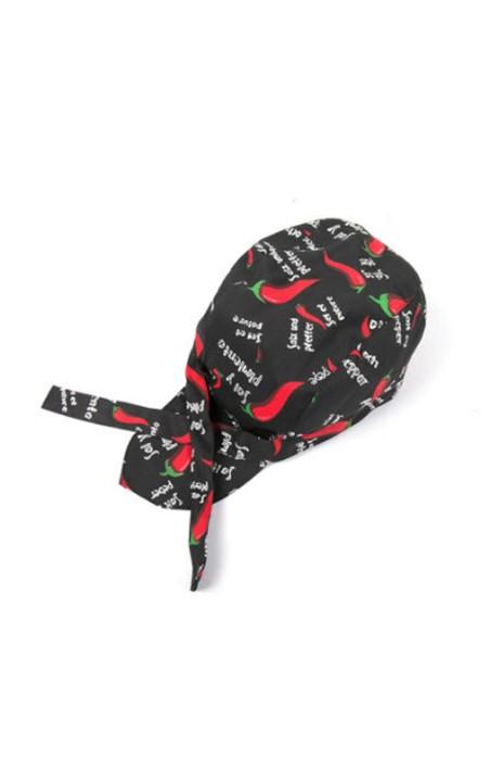 CHFH-006 訂做廚師工作海盜帽 餐廳咖啡店服務員帽子 飄帶帽 酒店後廚頭巾