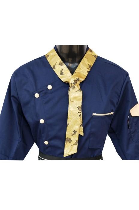 SKCH016   廚師長三角巾   領帶領結黑紅黃藍色   飯店西餐廳領花領巾   廚房奶茶汗巾