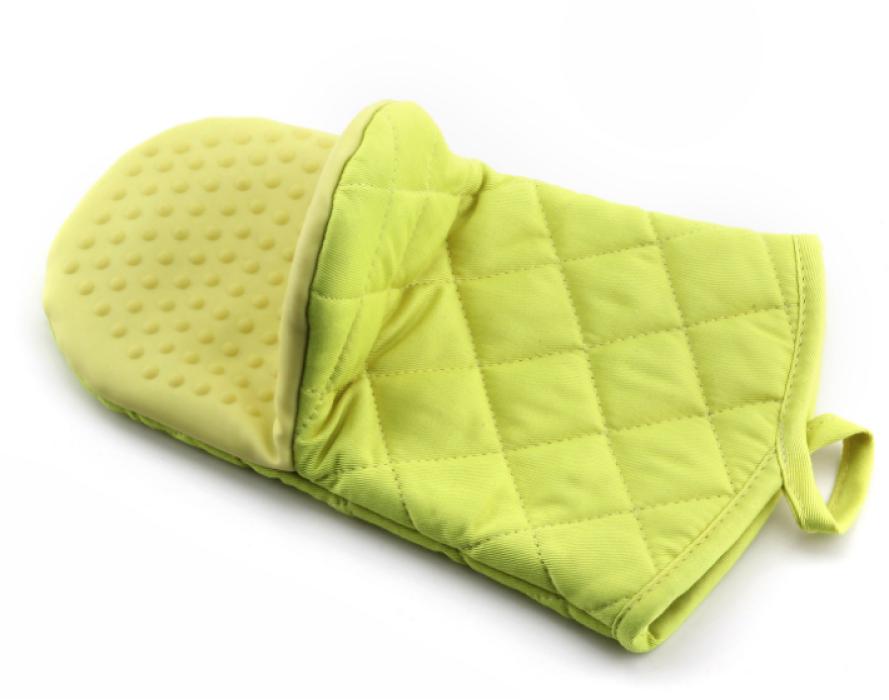 YD150617  草綠色隔熱手套   來樣訂做隔熱手套  隔熱手套專門店  滌棉65%硅膠35%  115G  隔熱手套價格