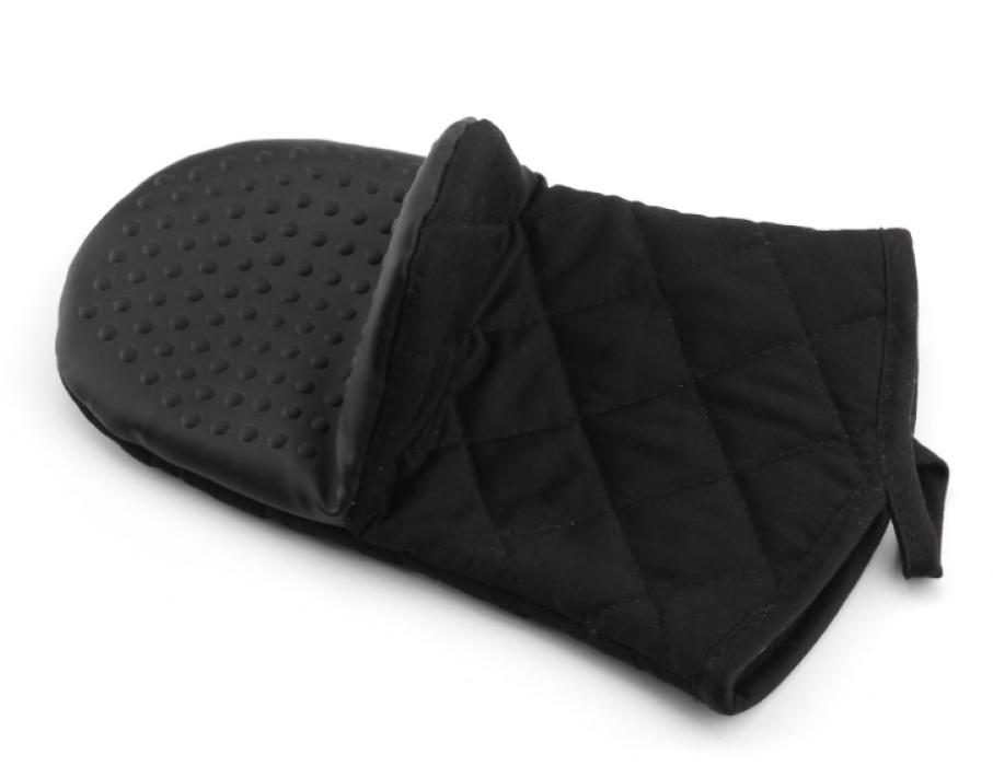 YD150617  黑色隔熱手套   供應訂購隔熱手套  隔熱手套製造商  滌棉65%硅膠35%  115G  隔熱手套價格