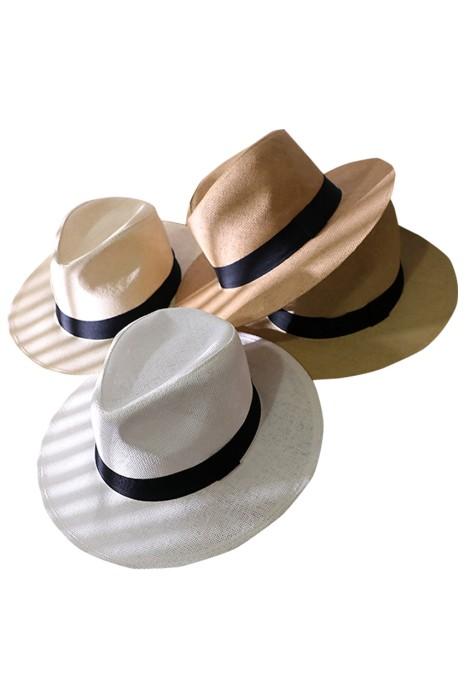 製造遮陽手工編織草帽   設計黑色邊沙灘 巴拿馬禮帽  草帽制服店  SKB009