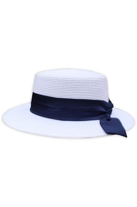 製造防曬草帽  個人設計綁帶英倫沙灘平頂帽 草帽中心  SKB012