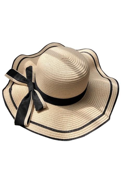 訂製沙灘防曬帽  個人設計蝴蝶結網紗旅遊 海邊度假草帽  草帽製衣廠  SKB015